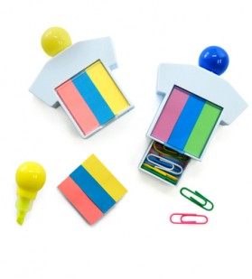 Highlighter With Post It Pad And Paper Clips