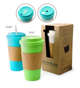 PSP Ice Beverage Travel Mug With Cork Sleeve And Straw